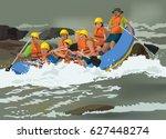 rafting team   Shutterstock .eps vector #627448274