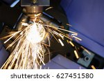 the cnc laser cut machine while ... | Shutterstock . vector #627451580