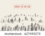 misty fog in pine forest on... | Shutterstock .eps vector #627455273
