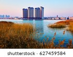 the lake water scenery. | Shutterstock . vector #627459584