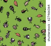 ladybug  beetles in peas ... | Shutterstock .eps vector #627466364