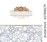 romantic floral invitation....   Shutterstock .eps vector #627468179