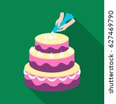 decorating of birthday cake... | Shutterstock .eps vector #627469790