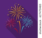 colorful fireworks icon in flat ... | Shutterstock .eps vector #627470483