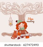 cute  funny girl reads a book...   Shutterstock .eps vector #627472493