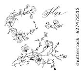 set of hand drawn flowers. flax ... | Shutterstock .eps vector #627473513