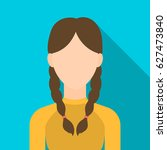 pigtails icon flat. single... | Shutterstock .eps vector #627473840