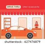 drive thru fast food restaurant ... | Shutterstock .eps vector #627476879