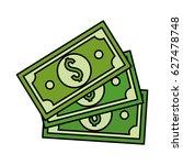 green bill dolar money | Shutterstock .eps vector #627478748