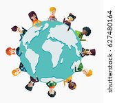 multi ethnic group of young and ... | Shutterstock .eps vector #627480164