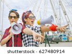female protesters at workers... | Shutterstock . vector #627480914
