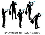 silhouette of businessman use... | Shutterstock .eps vector #627482093