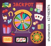 casino game gambling symbols... | Shutterstock .eps vector #627482876