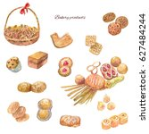 watercolor bakery products. set ... | Shutterstock . vector #627484244