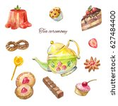 watercolor tea ceremony. cakes  ... | Shutterstock . vector #627484400