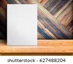 blank white paper poster on... | Shutterstock . vector #627488204