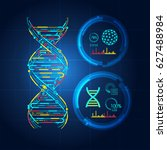 blueprint of dna  dna symbol in ... | Shutterstock .eps vector #627488984