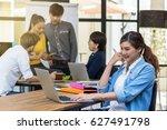 portrait of businesswoman... | Shutterstock . vector #627491798