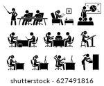 businesswoman working in an... | Shutterstock . vector #627491816
