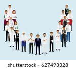 restaurant team. group of... | Shutterstock .eps vector #627493328