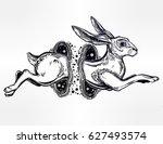 hare running or jackrabbit... | Shutterstock .eps vector #627493574