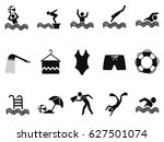 black water pool icons set | Shutterstock .eps vector #627501074