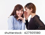 Small photo of woman gossiping, whispering, listening to rumor or hearsay