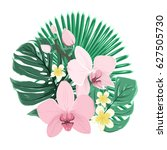 bouquet composition of exotic... | Shutterstock .eps vector #627505730