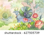 watercolor illustration with... | Shutterstock . vector #627505739