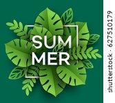 summer tropical leaf. paper cut ... | Shutterstock .eps vector #627510179