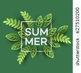 summer tropical leaf. paper cut ...   Shutterstock .eps vector #627510200