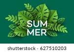 summer tropical leaf. paper cut ... | Shutterstock .eps vector #627510203