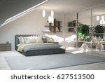 white modern bedroom.... | Shutterstock . vector #627513500