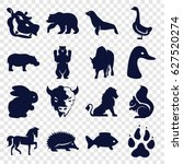 Set Of 16 Wild Filled Icons...