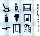 set of 9 swing filled icons...   Shutterstock .eps vector #627535058