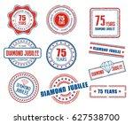set of various 75th anniversary ... | Shutterstock .eps vector #627538700