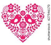 scandinavian folk pattern with... | Shutterstock .eps vector #627546170