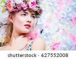 beautiful romantic young woman... | Shutterstock . vector #627552008