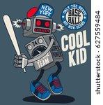 vector retro robot  baseball... | Shutterstock .eps vector #627559484