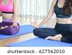 young women torso in yoga... | Shutterstock . vector #627562010