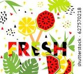 summer banner with watermelon... | Shutterstock .eps vector #627570218
