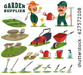 gardeners man and woman ... | Shutterstock .eps vector #627572108