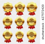golden certified rosettes  gold ... | Shutterstock .eps vector #627572420