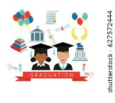 graduation day. man and woman... | Shutterstock .eps vector #627572444