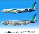 airplane outside and inside | Shutterstock .eps vector #627574148