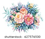 watercolor flowers  leaves ... | Shutterstock . vector #627576530