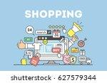 shopping concept illustration... | Shutterstock . vector #627579344