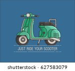 green scooter standing. cartoon ... | Shutterstock .eps vector #627583079