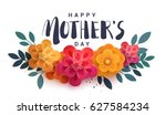 happy mother's day lettering on ... | Shutterstock .eps vector #627584234