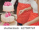 divide the cake into pieces for ... | Shutterstock . vector #627589769